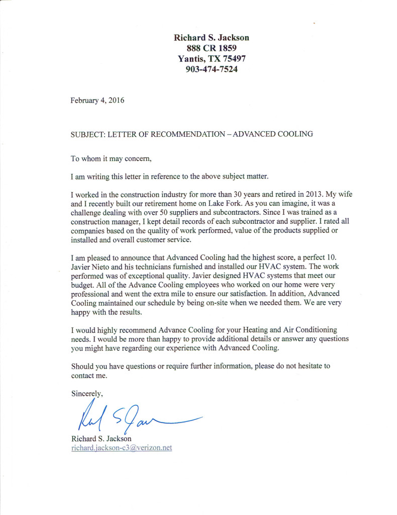 Letter Of Recommendation Advanced Cooling Sherman Hvac Contractor